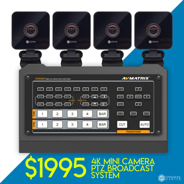 4K 4 Camera PTZ Broadcast Package - Starter - $1995 - Mixer Included