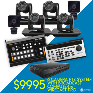 6 Ultimate PTZ Camera Broadcast Package - Ultra - $9995 - Broadcast Computer With Wirecast Pro, Mixer and Controller Included