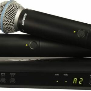 Shure BLX288/B58-H10 Dual-Channel Wireless Handheld Microphone System with Beta 58A Capsules - 542 to 572 MHz