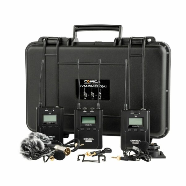 Comica CVM-WM200A Dual-Transmitter Lavalier Microphone Kit with Two Transmitters/One Receiver/Hard Case & Accessories