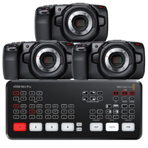 Blackmagic 3 Camera Live Broadcast Bundle | 4K Pocket Cinema Camera with ATEM Mini Pro  - $4480