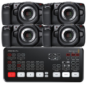 Blackmagic 4 Camera Live Broadcast Bundle | 4K Pocket Cinema Camera with ATEM Mini Pro  - $5775