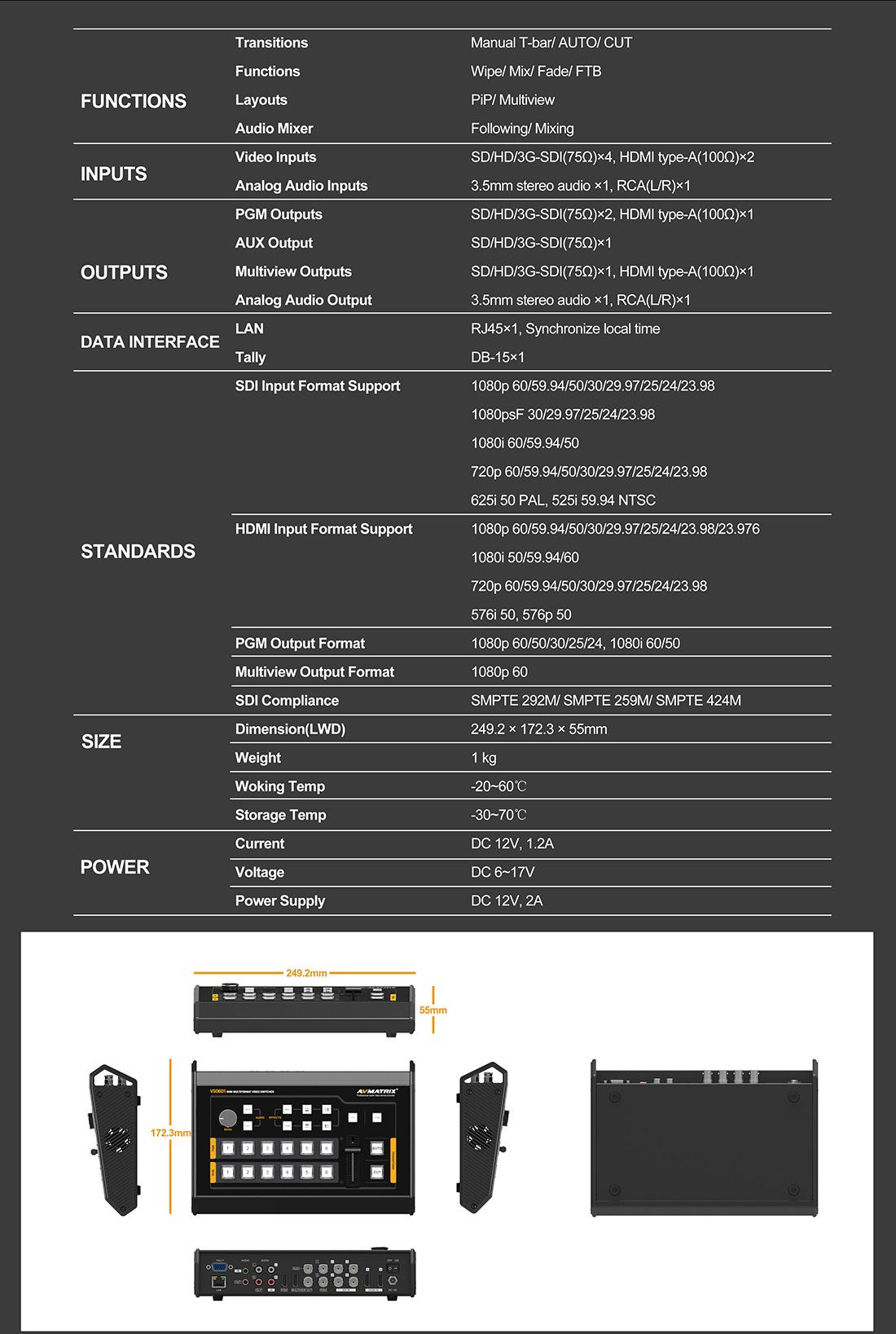 AVMatrix VS0601 - Mini 6CH SDI/HDMI Multi-format Video Switcher