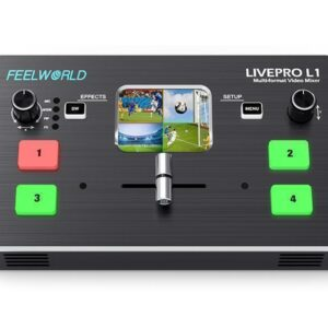 $299- FEELWORLD LIVEPRO L1 Multi-format Video Mixer Switcher 4 x HDMI Inputs Multi Camera Production USB3.0 Live Streaming